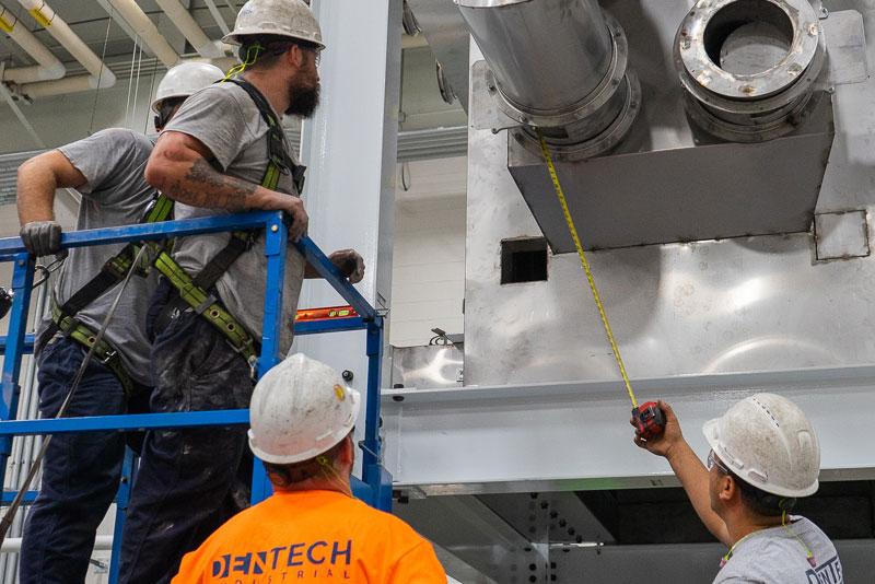 Installers at work measuring
