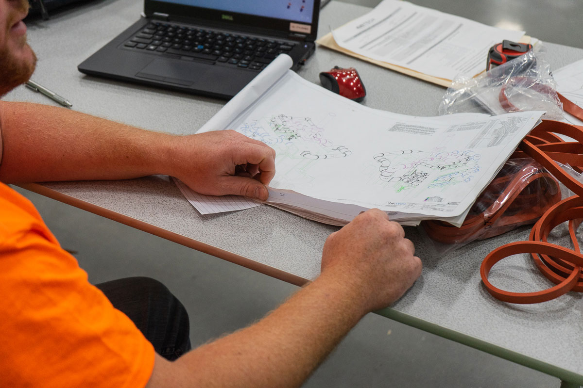 Project manager looking over drawings